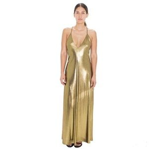 Slinky Gold Metallic Gown by American Apparel